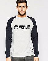 Мужская спортивная кофта (спортивный свитшот) Venum, Венум, серо-черная (в стиле)