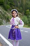 Лавандовий вишитий костюм в школу для дівчаток, фото 2