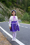 Лавандовий вишитий костюм в школу для дівчаток, фото 3