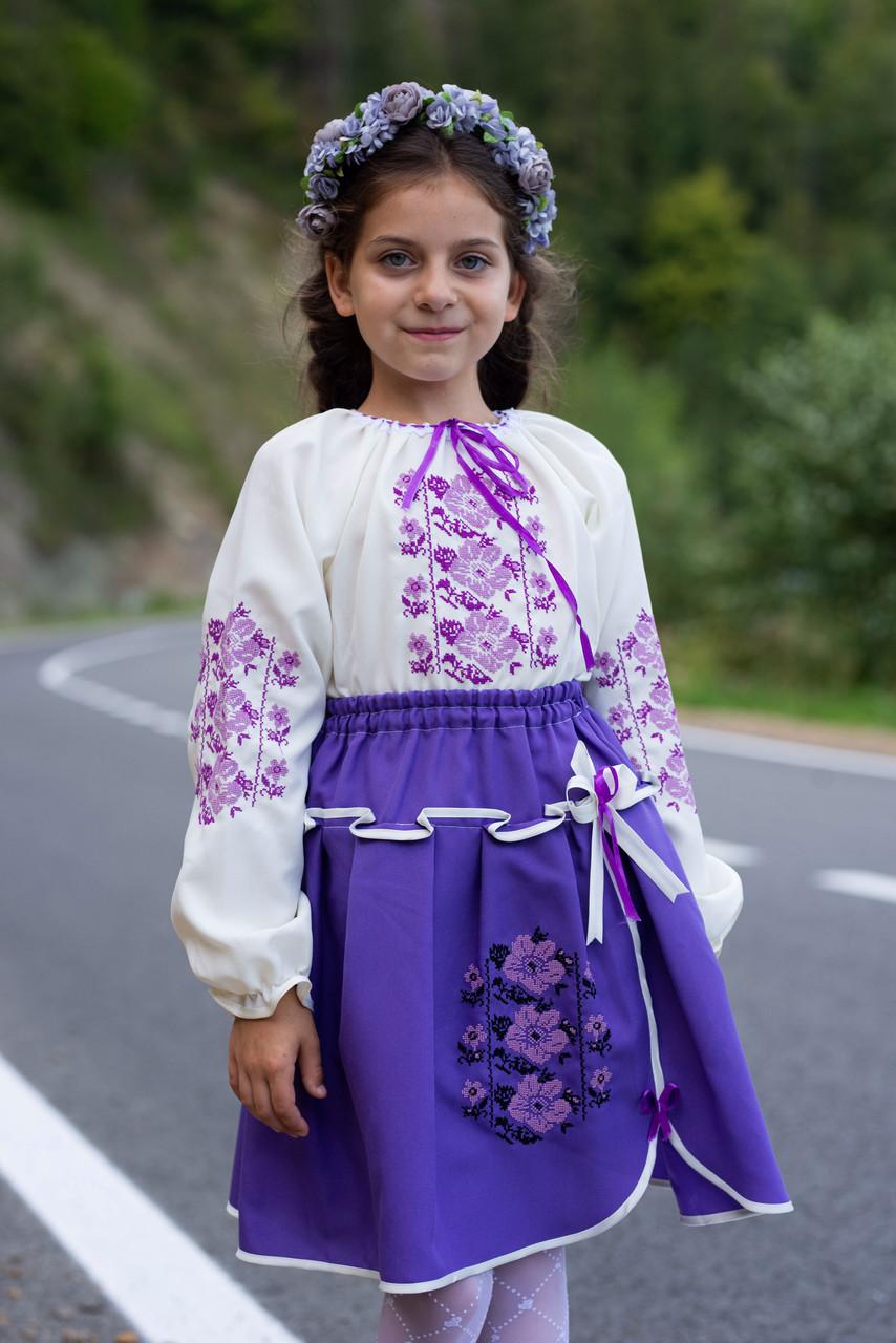 Лавандовий вишитий костюм в школу для дівчаток