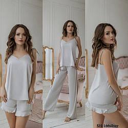 Комплект-піжама жіночий шовковий для дому та сну: майка + шорти + штани DIVA SH-166silver
