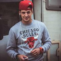 Мужская спортивная кофта (спортивный свитшот) chicago bulls, чикаго булс, серая (в стиле)