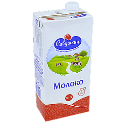 Молоко Савушкин 3,1%, 1л, (1ящ/12шт)