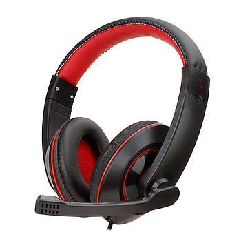 Игровая гарнитура SOYTO SY722MV Черно-Красная проводная для компьютера мультимедийная USB с микрофоном