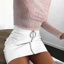 Матовая кожанная юбка на молнии, фото 3