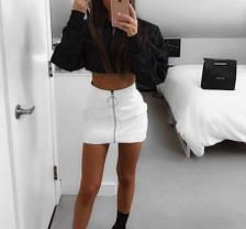 Матовая кожанная юбка на молнии, фото 2
