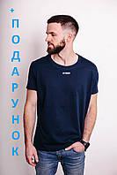 Мужская хлопковая футболка темно-синяя прямого кроя M L XL XXL