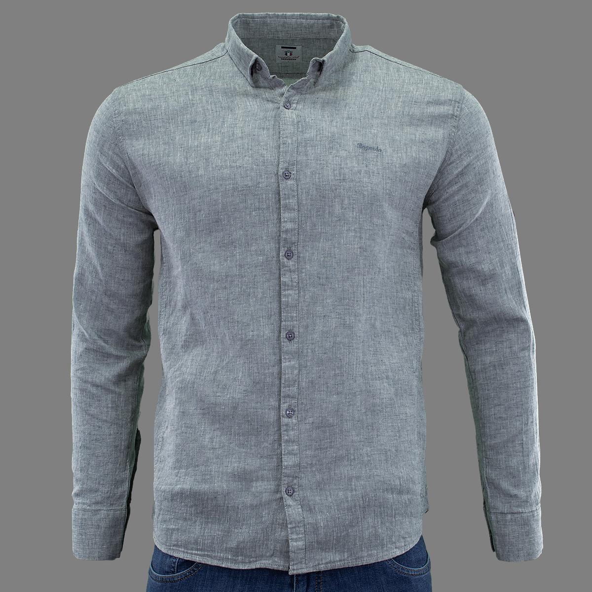Сорочка чоловіча, приталена (Slim Fit), з довгим рукавом Bagarda BG5731 GREY 80% льон 20% бавовна 3XL(Р)