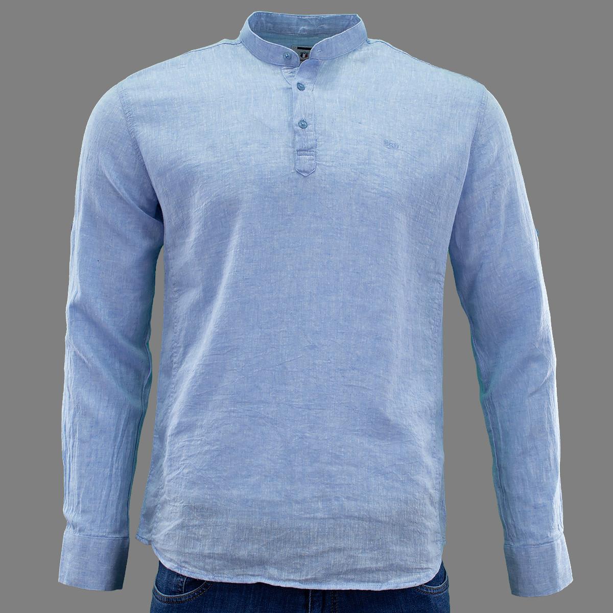 Сорочка чоловіча, приталена (Slim Fit), з довгим рукавом Bagarda BG5732 BLUE 80% льон 20% бавовна XL(Р)