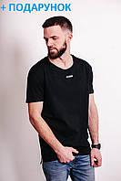 Черная футболка мужская на 100% из натурального хлопка с логотипом