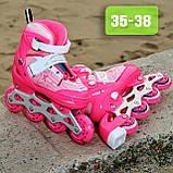 Детские ролики раздвижные ROLLER SPORT 2563 (35-38)  Розовые (31-34;), фото 2