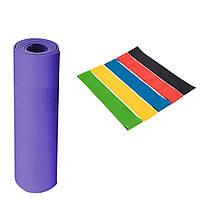 Фитнес коврик и резинки для фитнеса спортивный комплект мат и резиновые эспандеры Набор для спорта