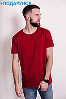 Бордовая мужская футболка из натурального хлопка M L XL XXL