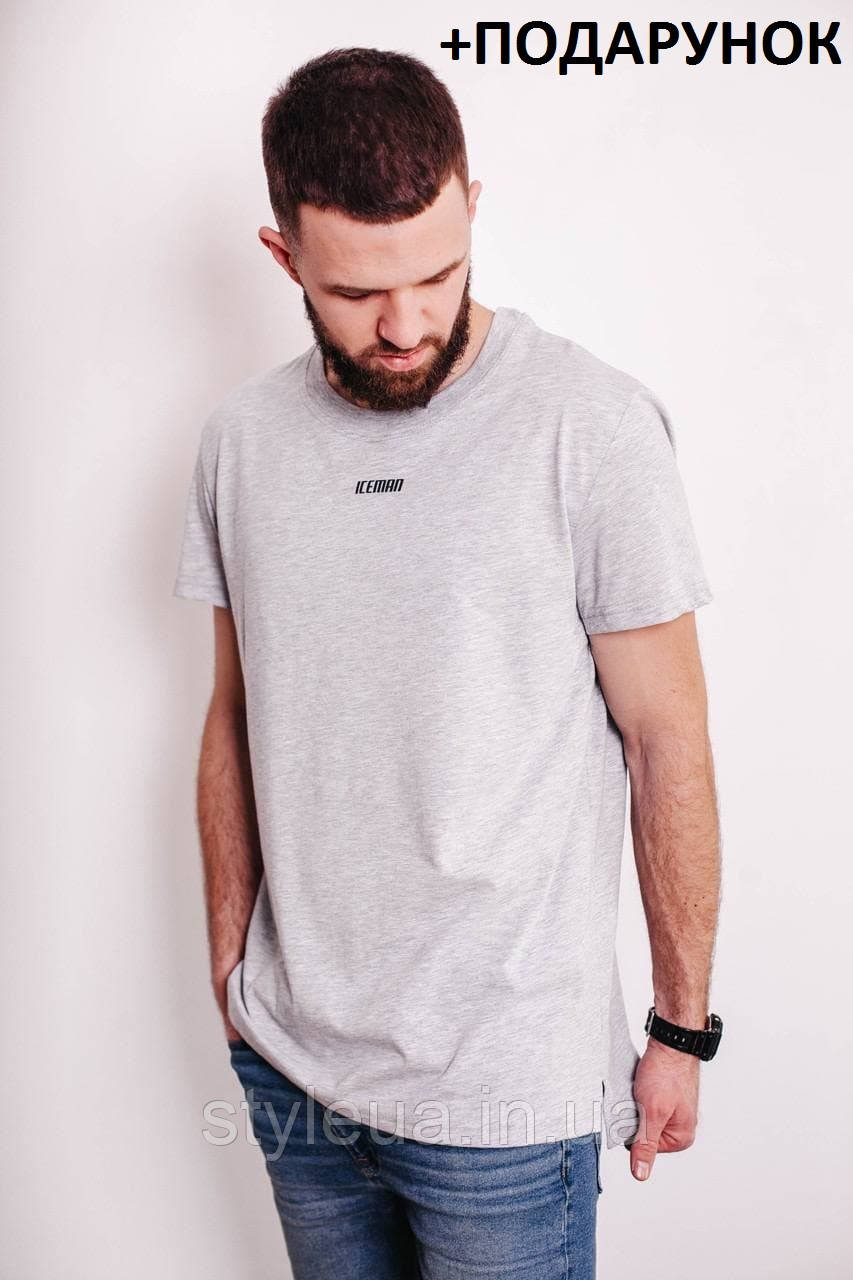 Футболка чоловіча / Універсальна чоловіча футболка з логотипом з 100% бавовни сірого кольору