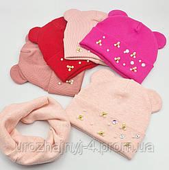 Дитячий комплект шапка і хомут р44-48 код 1017 Glory-Kids