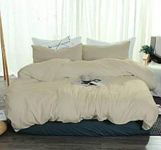 Полуторный комплект постельного белья Лен  Песочный №606  наволочки 70/70 см .