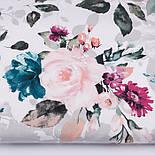 """Отрез ткани """"Большие акварельные розы"""" с тёмно-зелёными листьями, №3230, размер 100*160 см, фото 2"""