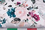 """Отрез ткани """"Большие акварельные розы"""" с тёмно-зелёными листьями, №3230, размер 100*160 см, фото 3"""