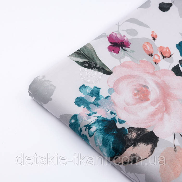 """Отрез ткани """"Большие акварельные розы"""" с тёмно-зелёными листьями, №3230, размер 100*160 см"""
