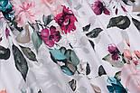 """Отрез ткани """"Большие акварельные розы"""" с тёмно-зелёными листьями, №3230, размер 100*160 см, фото 6"""