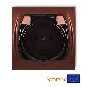 Розетка Schuko 16А 250В IP44 Karlik Logo 9LGPB-1sd коричневая с з/к крышкой заземлением одинарная встроенная