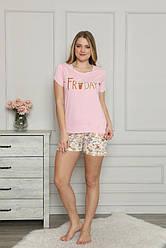 Комплект женский (футболка короткий рукав+шорты),  х/б,  Nicoletta  (размер L)