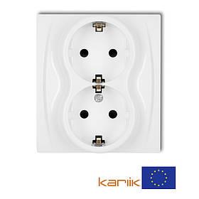 Розетка 2-я Schuko 16А 250В Karlik Logo LGP-2s белая с з/к заземлением шторками двойная встроенная внутренняя