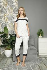 Комплект женский (футболка короткий рукав+капри),  вискоза,  Nicoletta  (размер L)