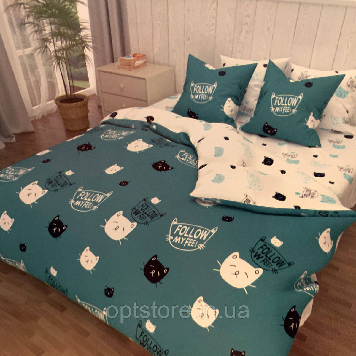 """""""коты"""" комплект постельного белья двуспальный 180/210, нав-ки 70/70, ткань сатин, 100% состоит из хлопка"""