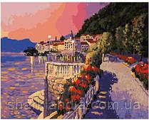 Картина по номерам Brushme Лазурная набережная GX24685 Пейзаж Природа Вода горы лодка море закат