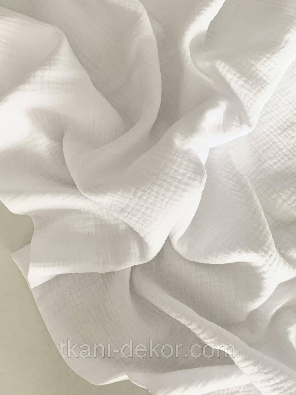 Муслін (бавовняна тканина) жатка білий однотон (ширина 1,35 м) (2)