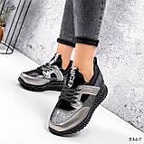 Жіночі кросівки шкіряні з напиленням чорні, фото 3