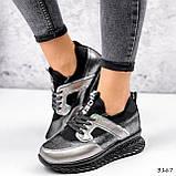 Жіночі кросівки шкіряні з напиленням чорні, фото 6