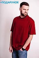 Большая мужская футболка красного цвета из хлопка без рисунка L-XXXL