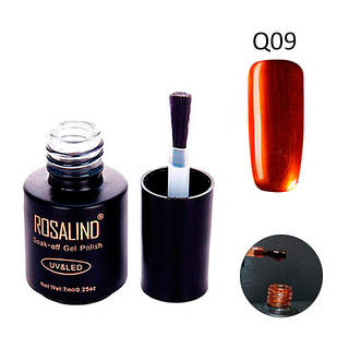 Гель-лак для ногтей маникюра 7мл Rosalind, шеллак витражный, Q09 медный