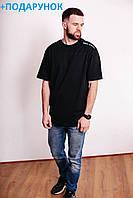 Большая мужская футболка черного цвета из хлопка без рисунка L-XXXL