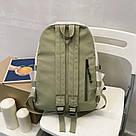 Рюкзак для девочки подростка школьный, водонепроницаемый мятно-серый  Goghvinci., фото 3