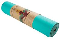 Коврик для йоги TPE+TC 6 мм голубой с коричневым (спортивный каремат, йогамат для фитнеса, пилатеса)