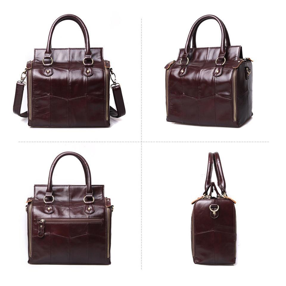 Кожаная женская сумка из натуральной кожи. Сумка женская органайзер кожаная деловая стильная (коричневая) - фото 7
