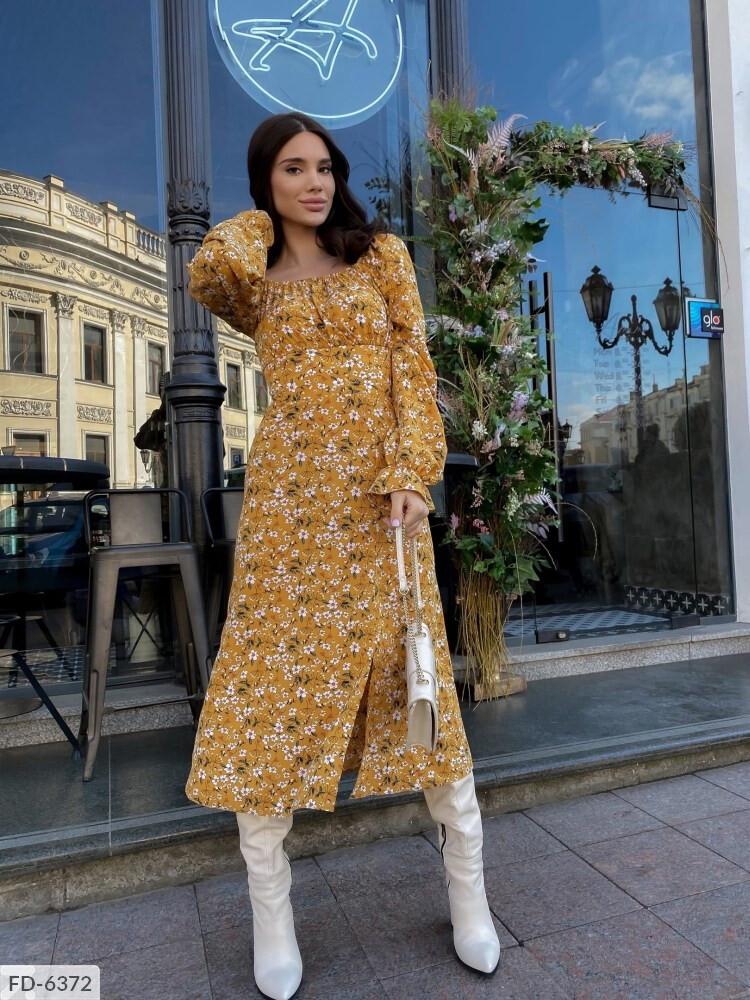 Платье софт миди с цветочным принтом