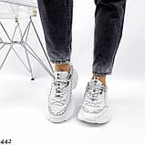 Жіночі кросівки на масивній підошві білі з ланцюгом, фото 5