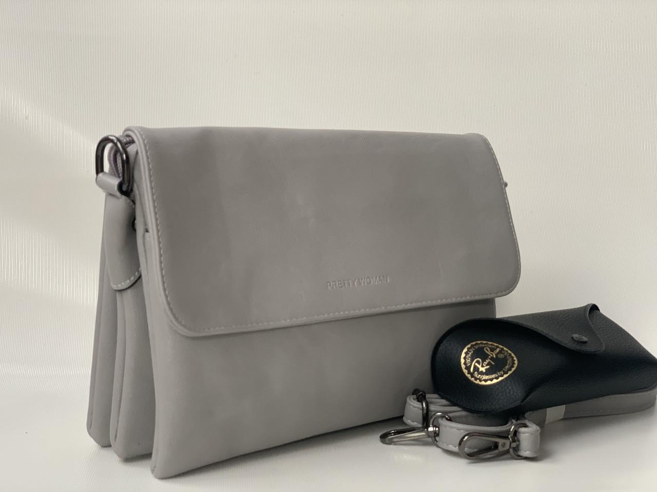 Женская серая сумка клатч Pretty Woman