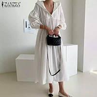Льняное платье с капюшоном лен . ХС-12ХЛ. Цвет в ассортименте
