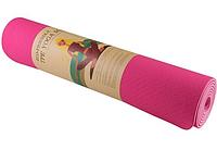 Коврик для йоги TPE+TC 6 мм розовый (спортивный каремат, йогамат для фитнеса, пилатеса)