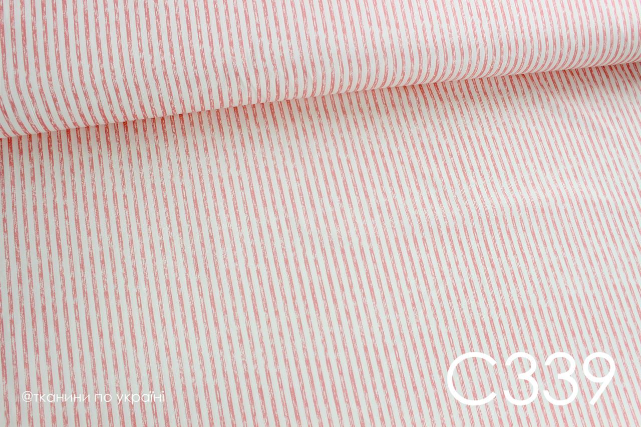 Ткань сатин Полоска затертая персиковая 4 мм