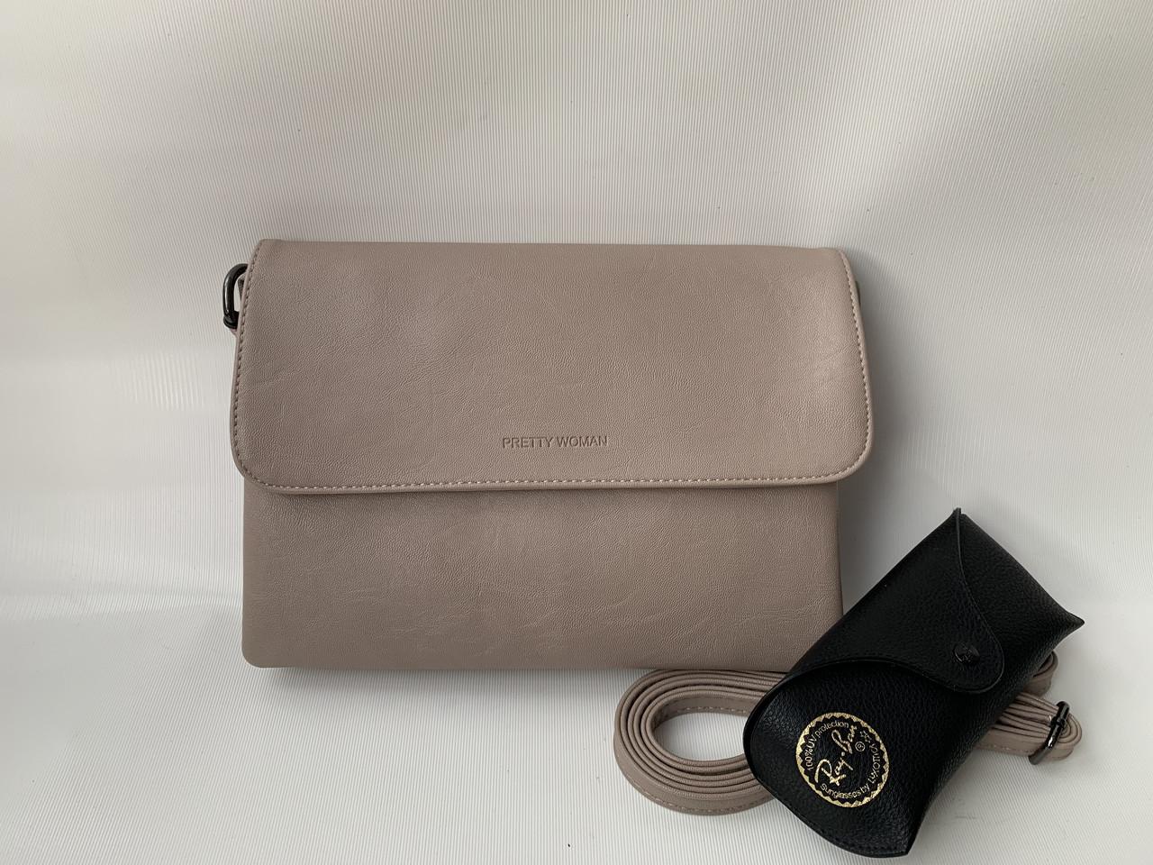 Женская светло-кофейная сумочка клатч Pretty Woman