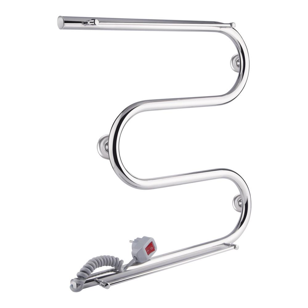 Сушарка рушників електрична Qtap Snake shelf (CRM) 500x500 LE з тримачем рушників