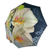 Женский зонтик-трость, полуавтомат от SWIFT с белыми орхидеями, 1112-3