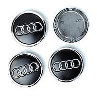 Колпачки заглушки на литые диски Audi 69/57мм черные, фото 1