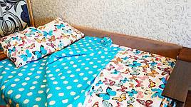 Двуспальный комплект постельного белья Бабочки бязь голд    Двохспальна постільна білизна   Постельное белье